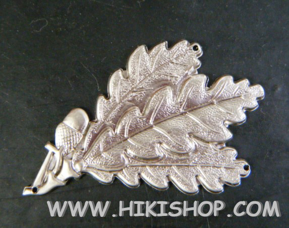 WW2 German Jager Troops Oak Leaf Cap Badge Hole