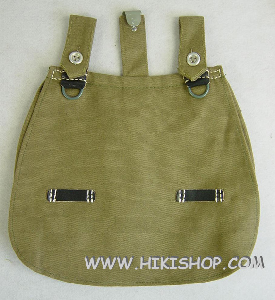 WWII German M31 BreadBag + Strap Dark Green Canvas Black Leather