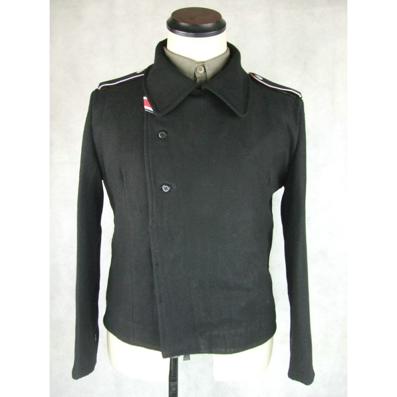WWII German Elite Black Wool Panzer Wrap Tunic Jacket