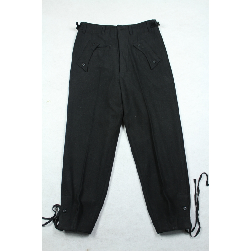 WWII German Elite Black Wool Panzer Trousers Pants