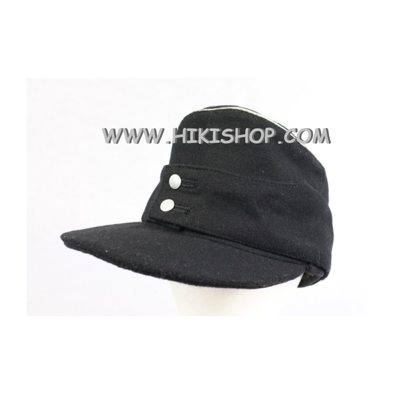 WWII German WH Panzer Black Wool Field Cap Officer Reproduction