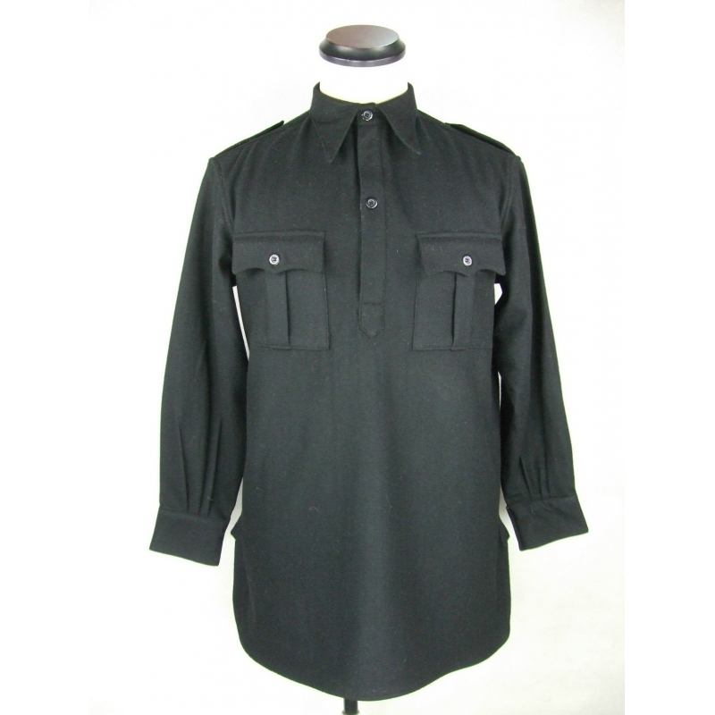 WW2 Italy Italian Army Black Flannel Shirt Top Flannel