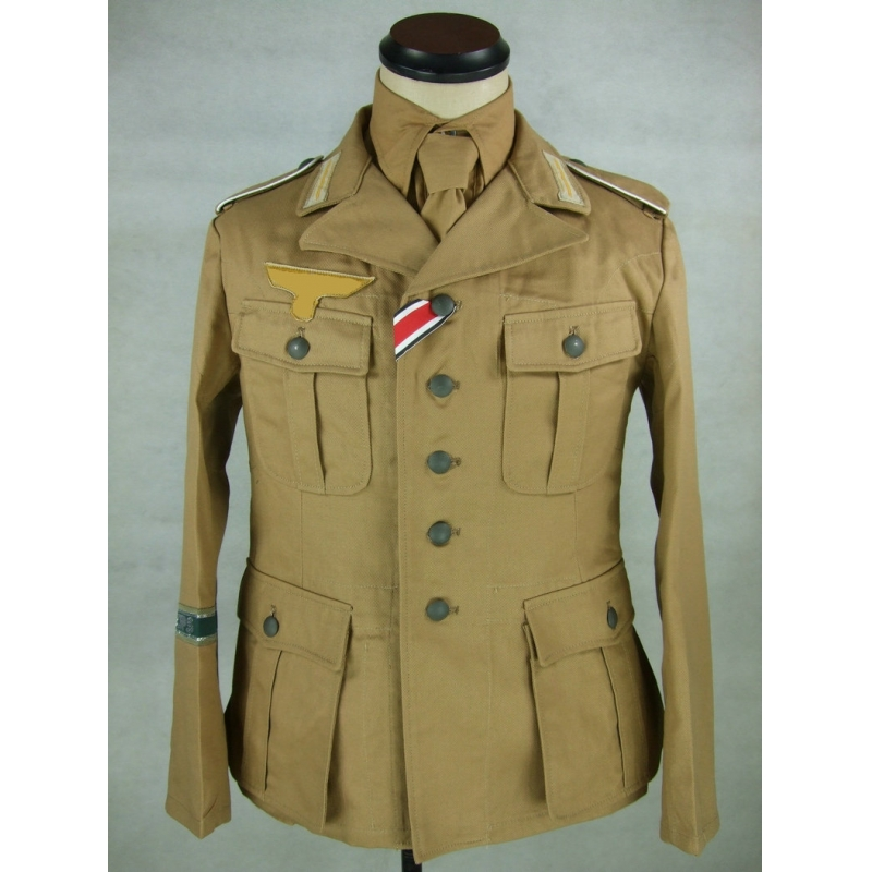 WWII German DAK Field Tunic Jacket With Insignia Sand